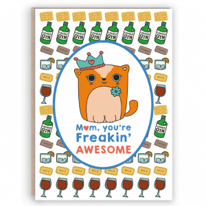 cute mum card cat gin