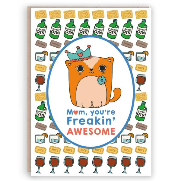 cute mum card cat gin