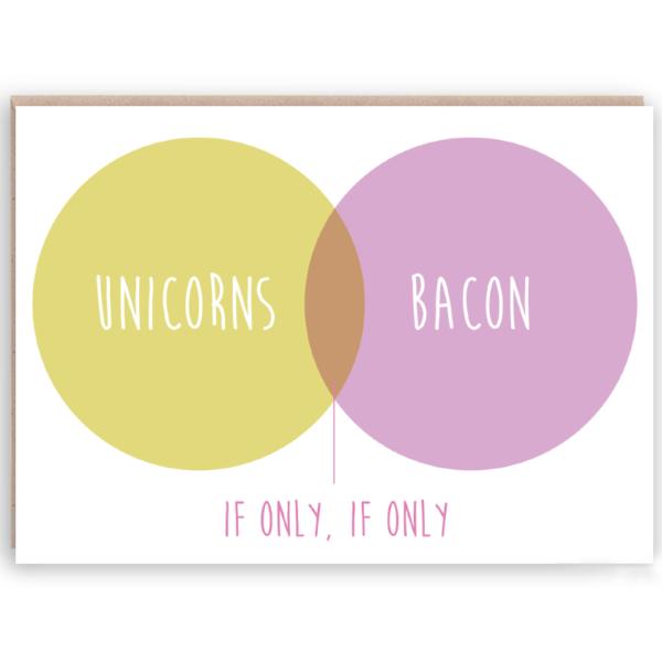 unicorns & bacon card