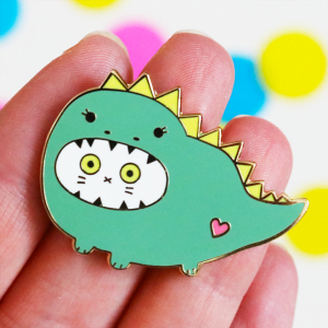 Dinosaur cat enamel pin