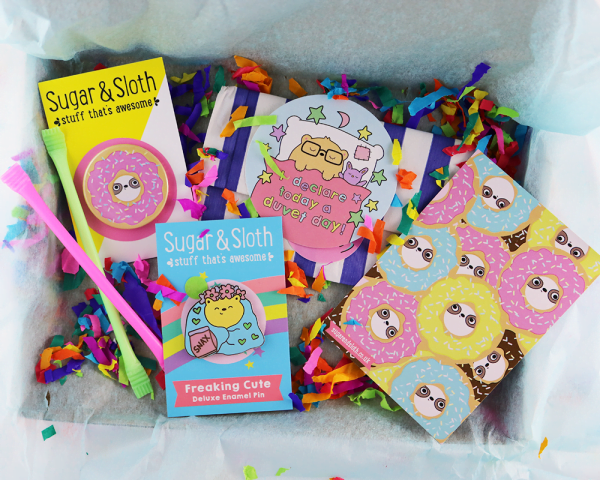 Duvet Day pin party subscription box