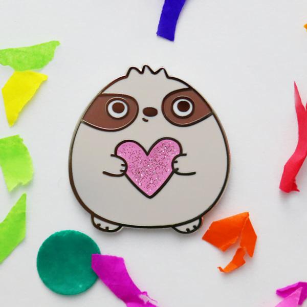 sloth of self care enamel pin
