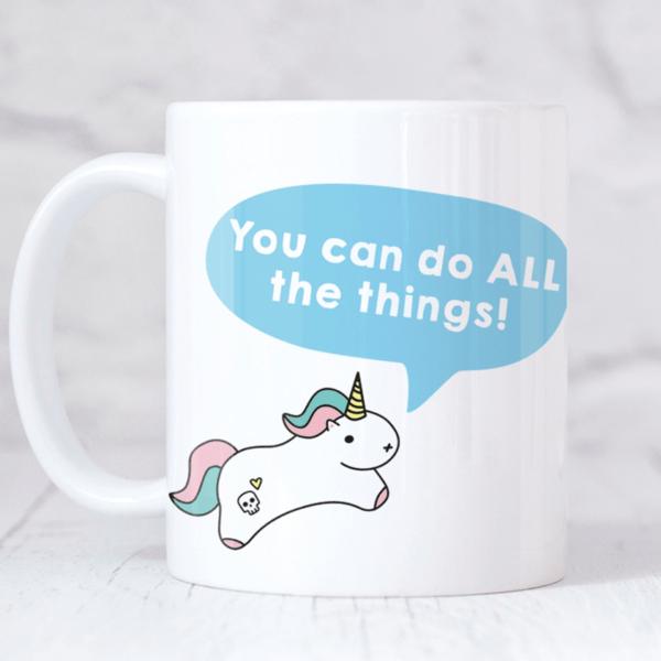 Motivational unicorn mug