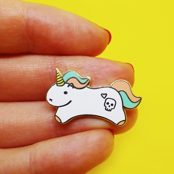 tiny motivational unicorn enamel pin