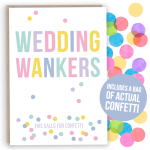 confetti Wedding wankers card