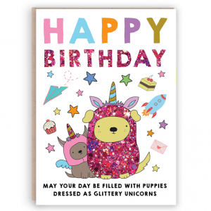 Unicorn puppy birthday card