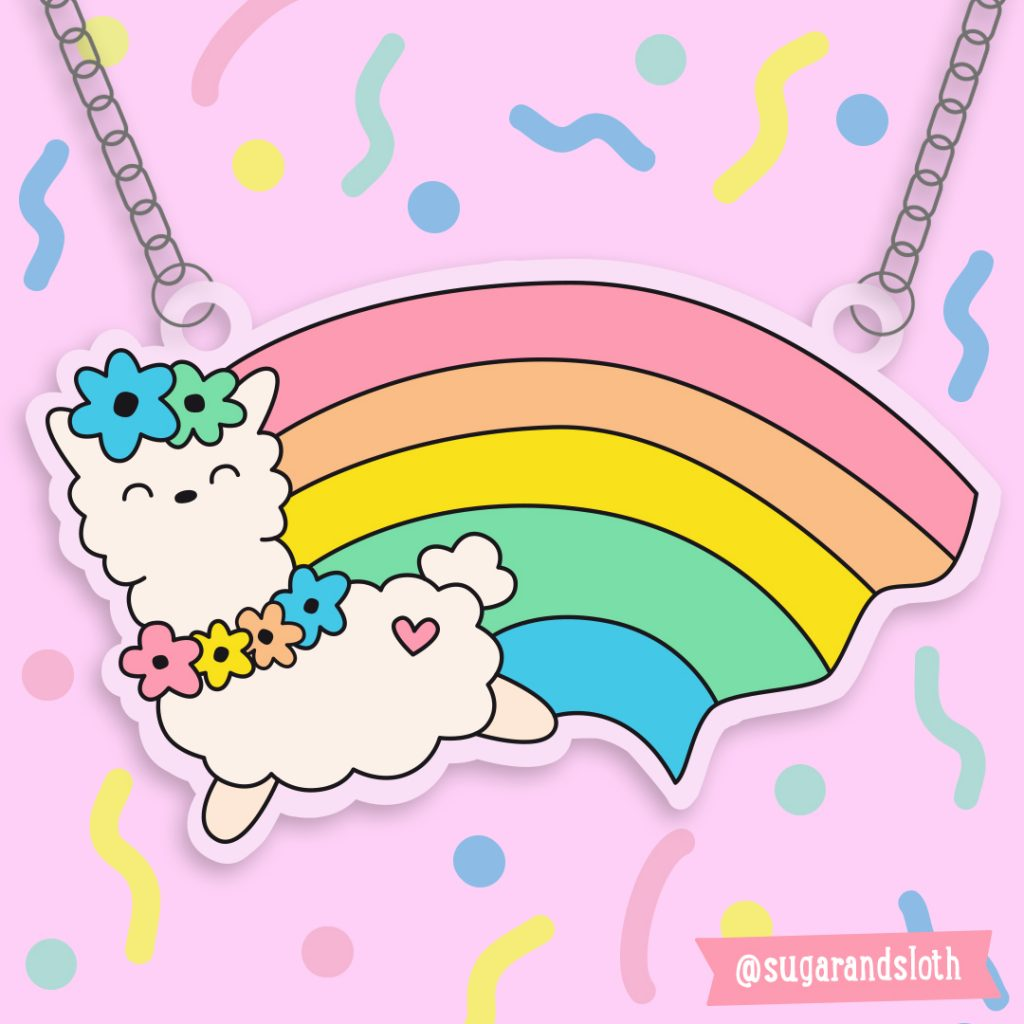 llama rainbow necklace