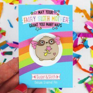 sloth fairy god mother enamel pin