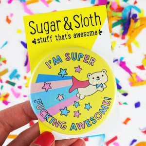 awesome bear funny birthday badge