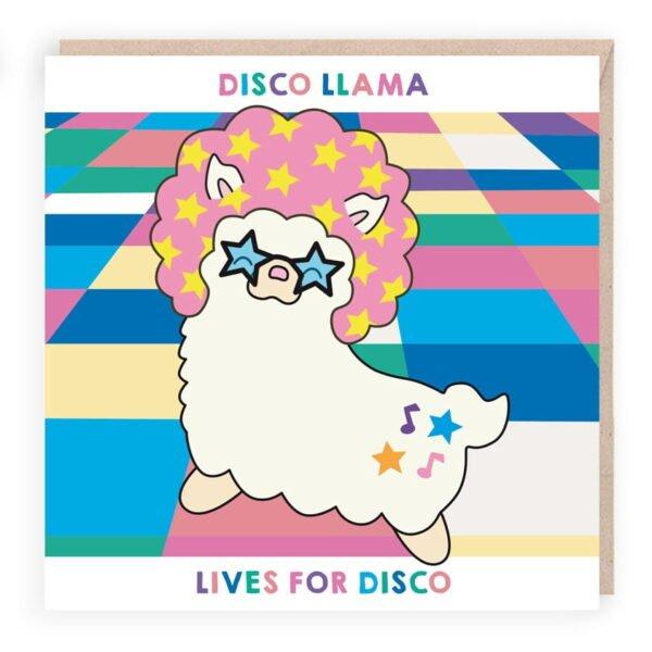 disco llama funny birthday card