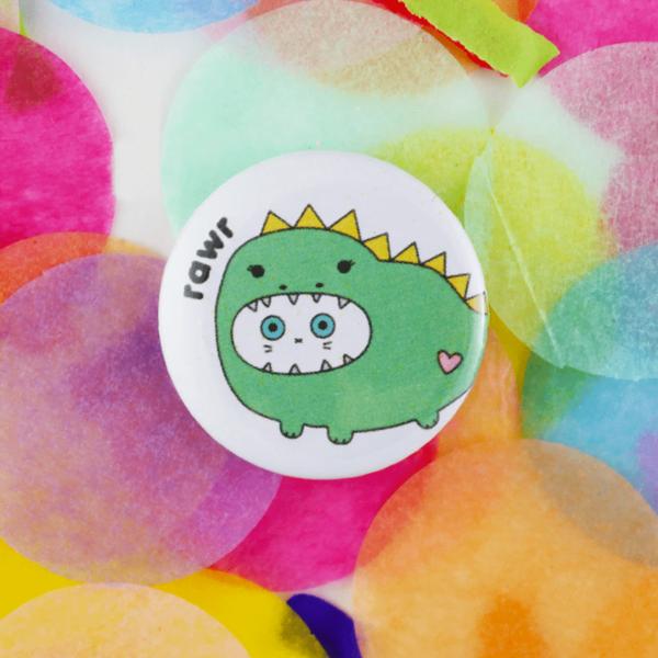 Dino rawr button badge