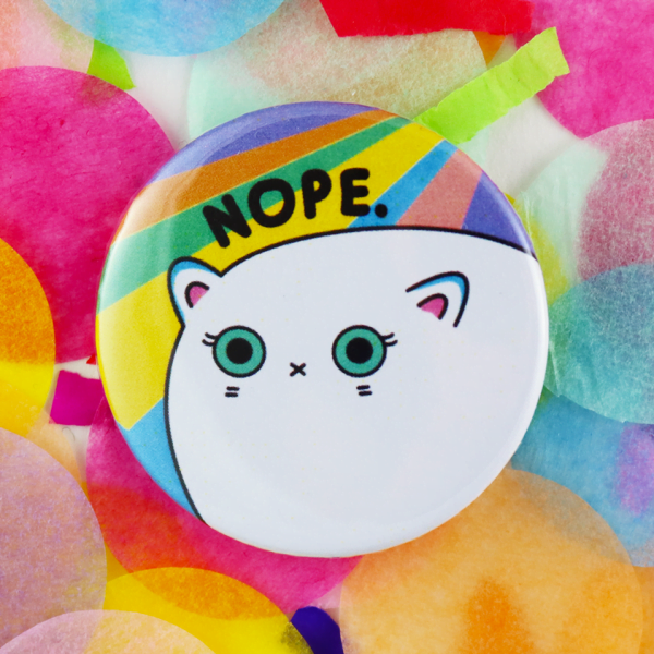 Nope cat button badge