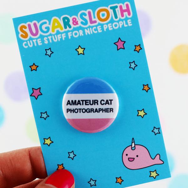 Amateur cat photographer button badge