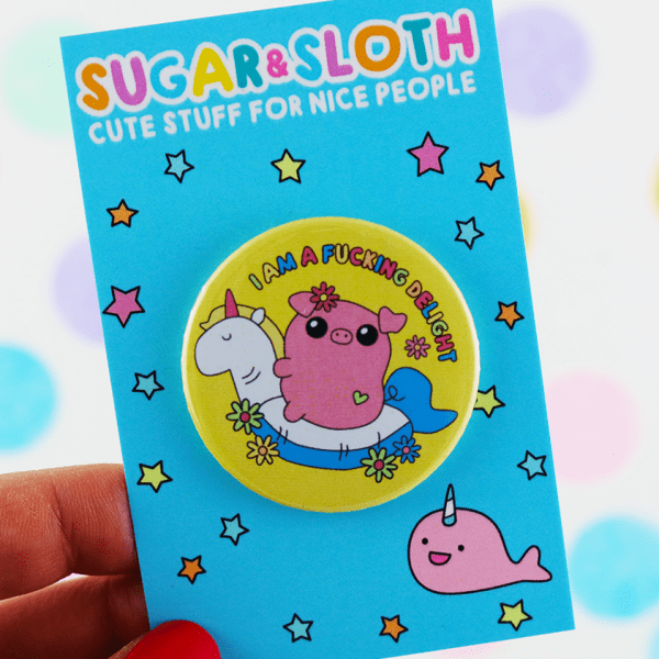 Sweary pig button badge