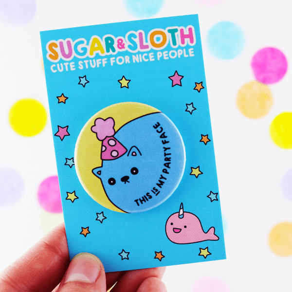 Cute cat birthday button badge