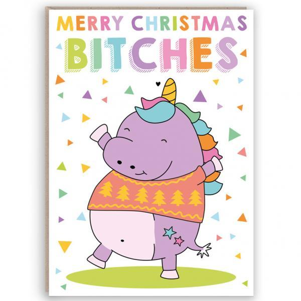 funny unicorn christmas card