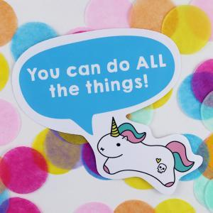 tiny motivational unicorn sticker