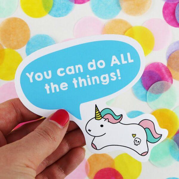 tiny motivational unicorn sticker