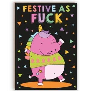 funny unicorn christmas card