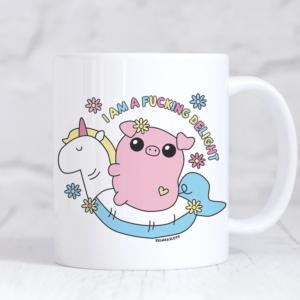 I am a fucking delight cute pig mug