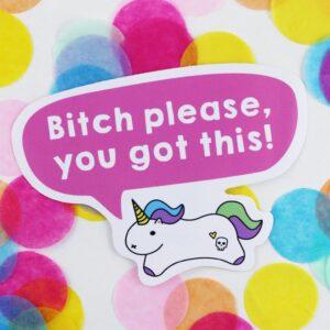 tiny motivational pink unicorn sticker
