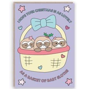 funny sloth christmas card