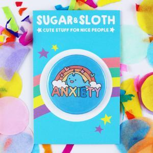 anxiety narwhal button badge