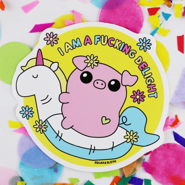 funny sweary pig vinyl sticker