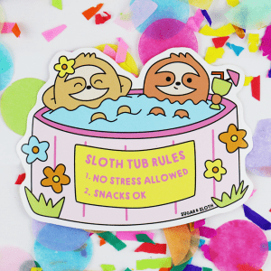 cute sloth spa day sticker
