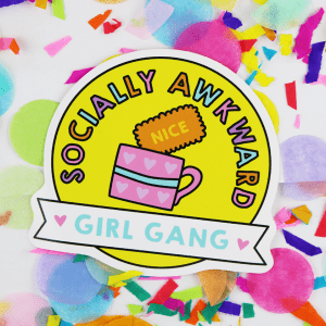 socially awkward girl gang vinyl sticker