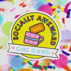 socially awkward girl gang vinyl sticker