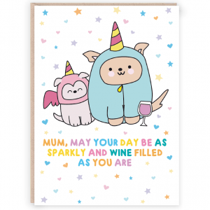 puppy wine funny mothers day card