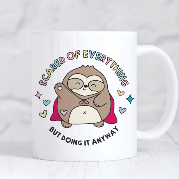Scaredy Sloth cute and funny mug