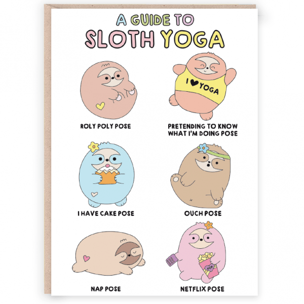 sloth yoga funny mothers day card