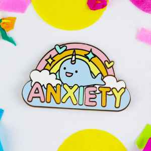 anxiety enamel pin rainbow narwhal