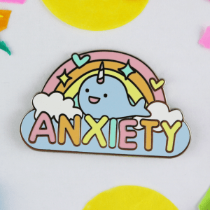 Anxiety enamel pin