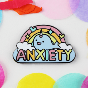Anxiety narwhal rainbow enamel pin