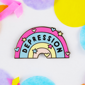 depression rainbow enamel pin