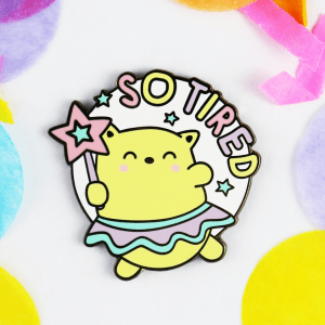 so tired cat enamel pin