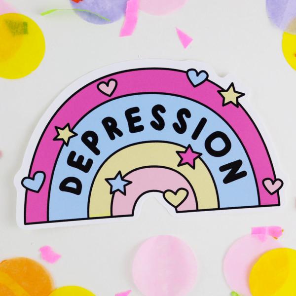 depression awareness rainbow vinyl sticker