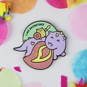 dragon glitter enamel pin