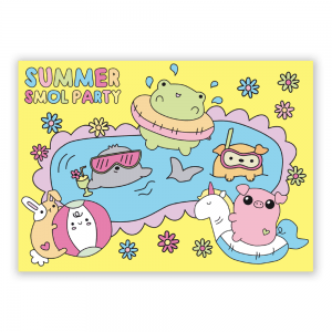 Summer pool party postcard