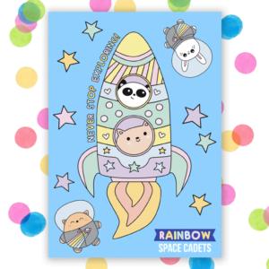 space cadet cute postcard