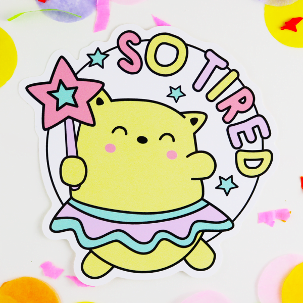 so tired funny and cute vinyl sticker