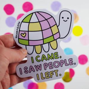 Awkward turtle vinyl sticker