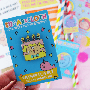 cute birthday enamel pin