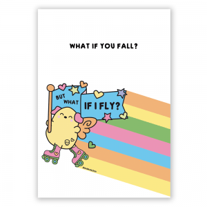 What if you fall rainbow postcard