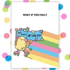 what if you fall postcard