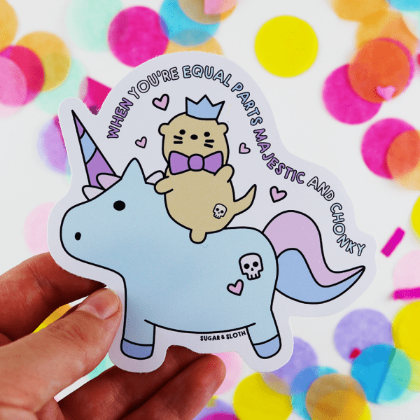 Chonky unicorn otter vinyl sticker