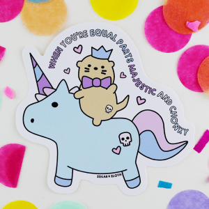 Chonky unicorn otter vinyl sticker